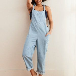 Aerie Striped Shoulder Tie Slouchy Overalls